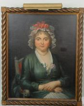 Portrait Woman In Red Ribbon Cap O/C