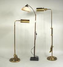 Group Three Modern Brass Adjustable Floor Lamps