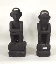 Two Philippine Ifugao Bulul Carved Seated Figures