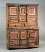 Spanish Colonial Style Rustic Painted Cupboard