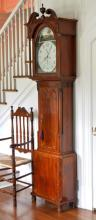 English George III Inlaid Mahogany Tall Case Clock