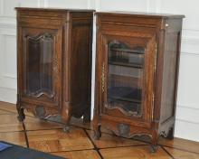 Pair French Provincial Oak Cabinets