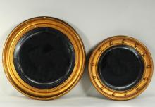 Two Regency Giltwood Convex Mirrors
