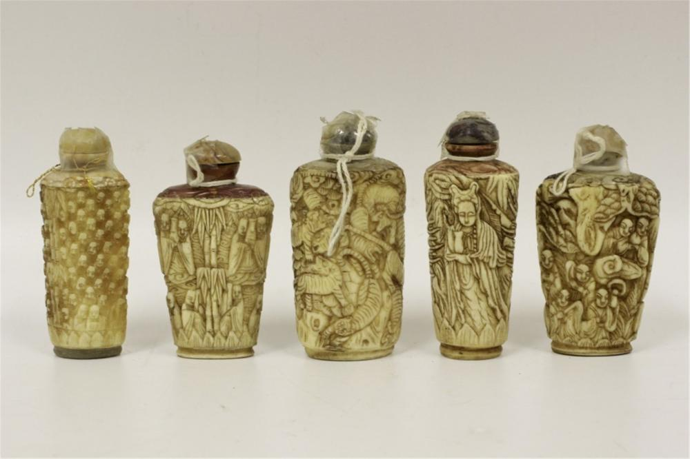 Chinese Lot Of 5 Old Carved Bone Snuff Bottles