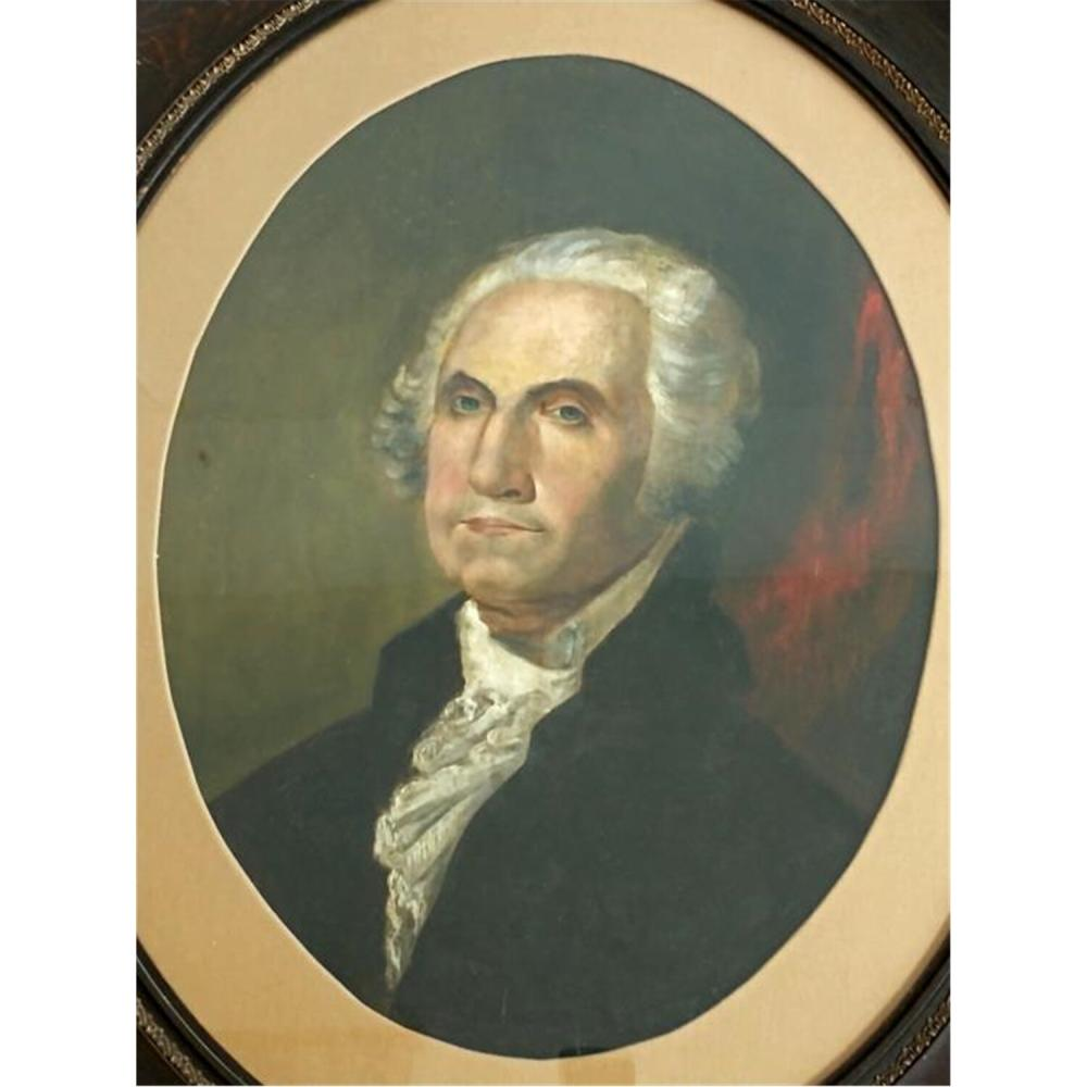 "Early Painting Oil on Canvas ""George Washington"""
