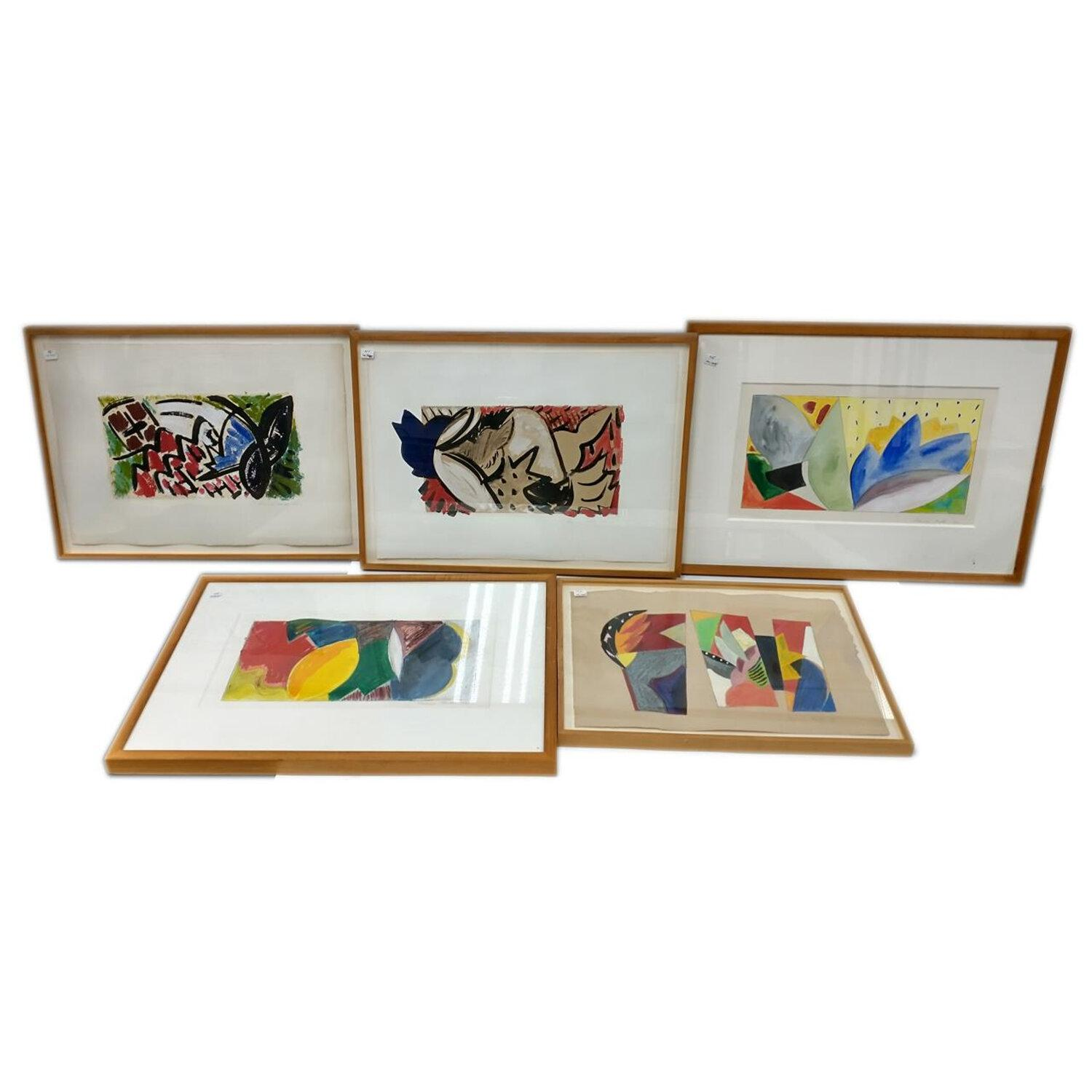 5 Paintings Mixed Media on Paper by Frances Barth