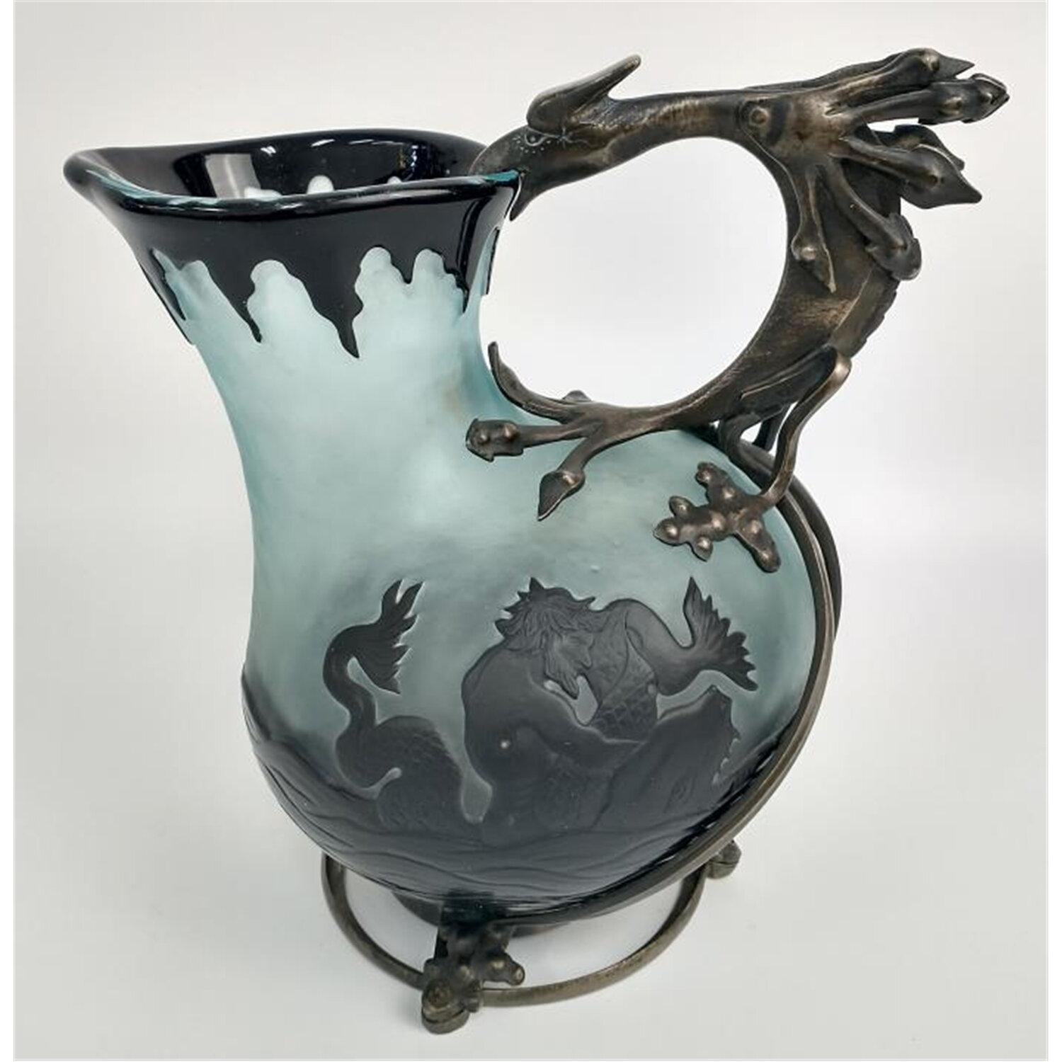 Rare Damon French Carved Cameo Glass Pitcher