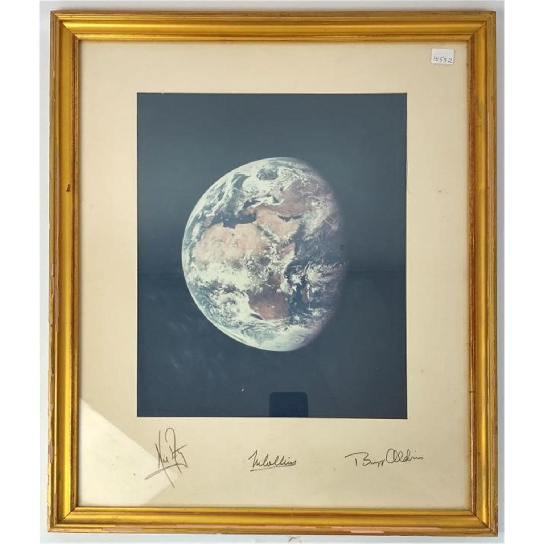 Rare Hand Signed Photo of Earth, Apollo11 Astronauts