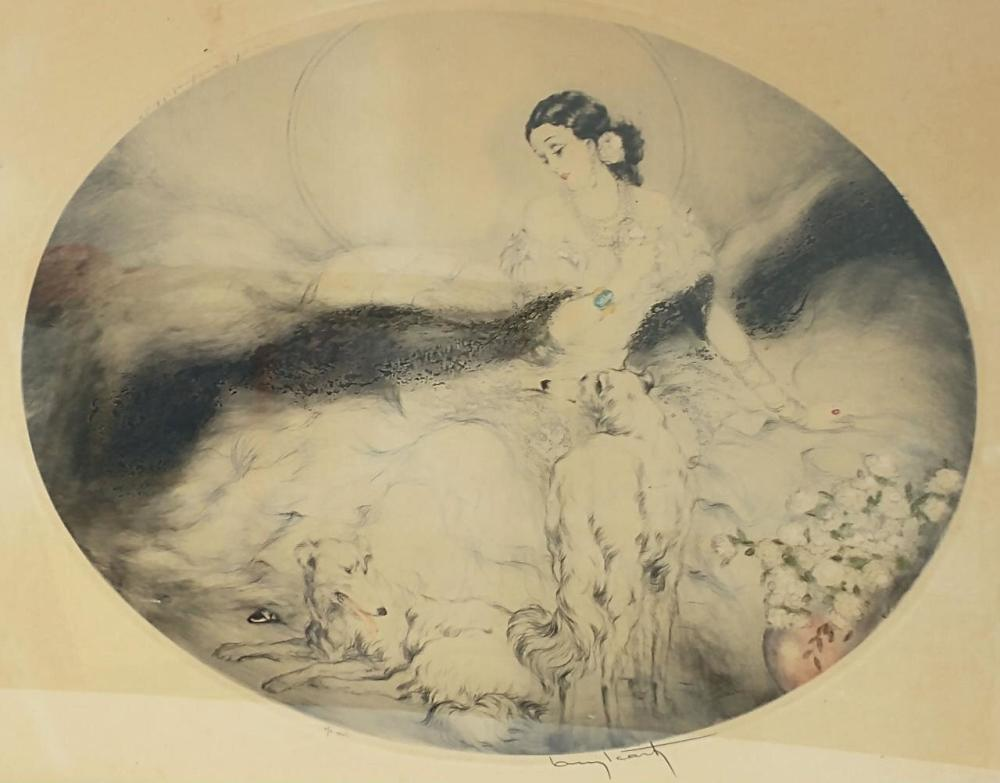 Louis Icart, French(1888-1950) Etching,Girl w/Dogs