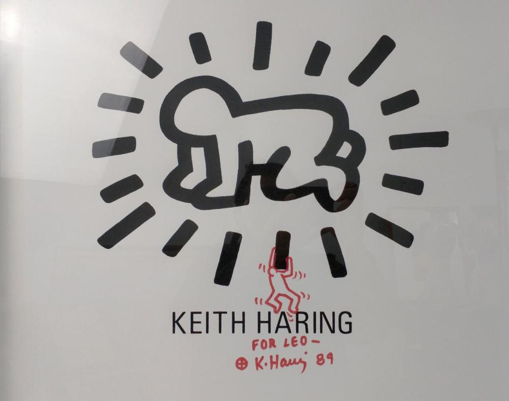 Screen Print and Red Marker Keith Haring