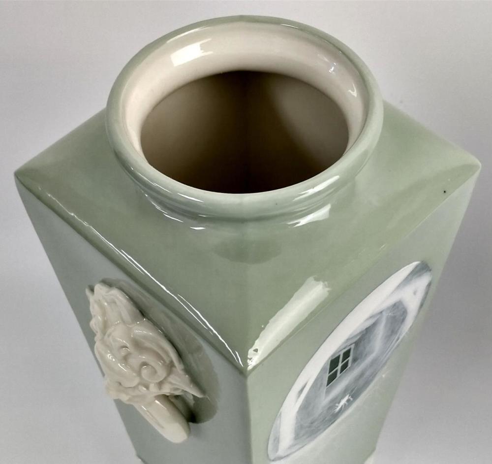 Pair English Royal Worcester Pate-sur-Pate Vases.