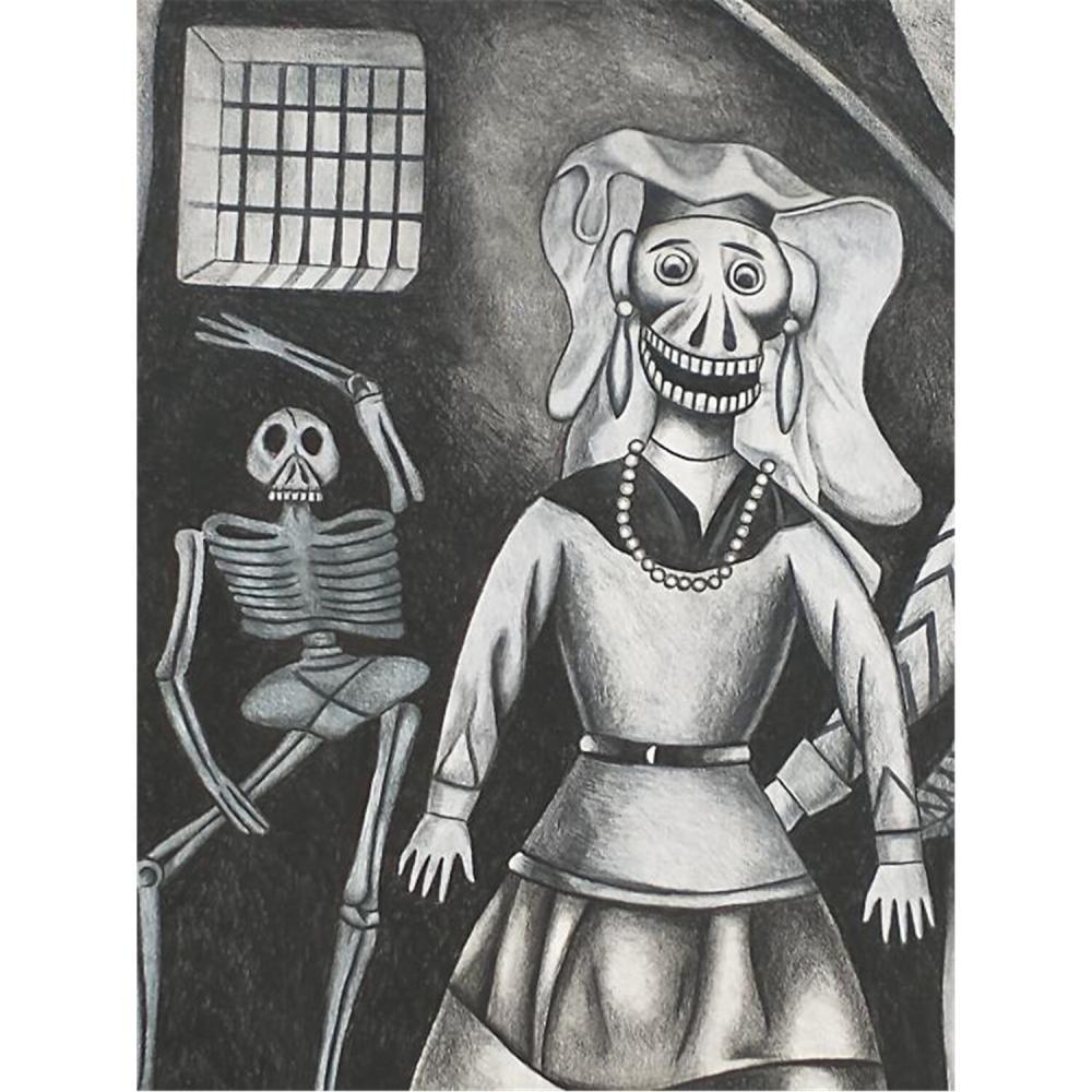 Painting Charcoal on Board, J. Chavez Morado
