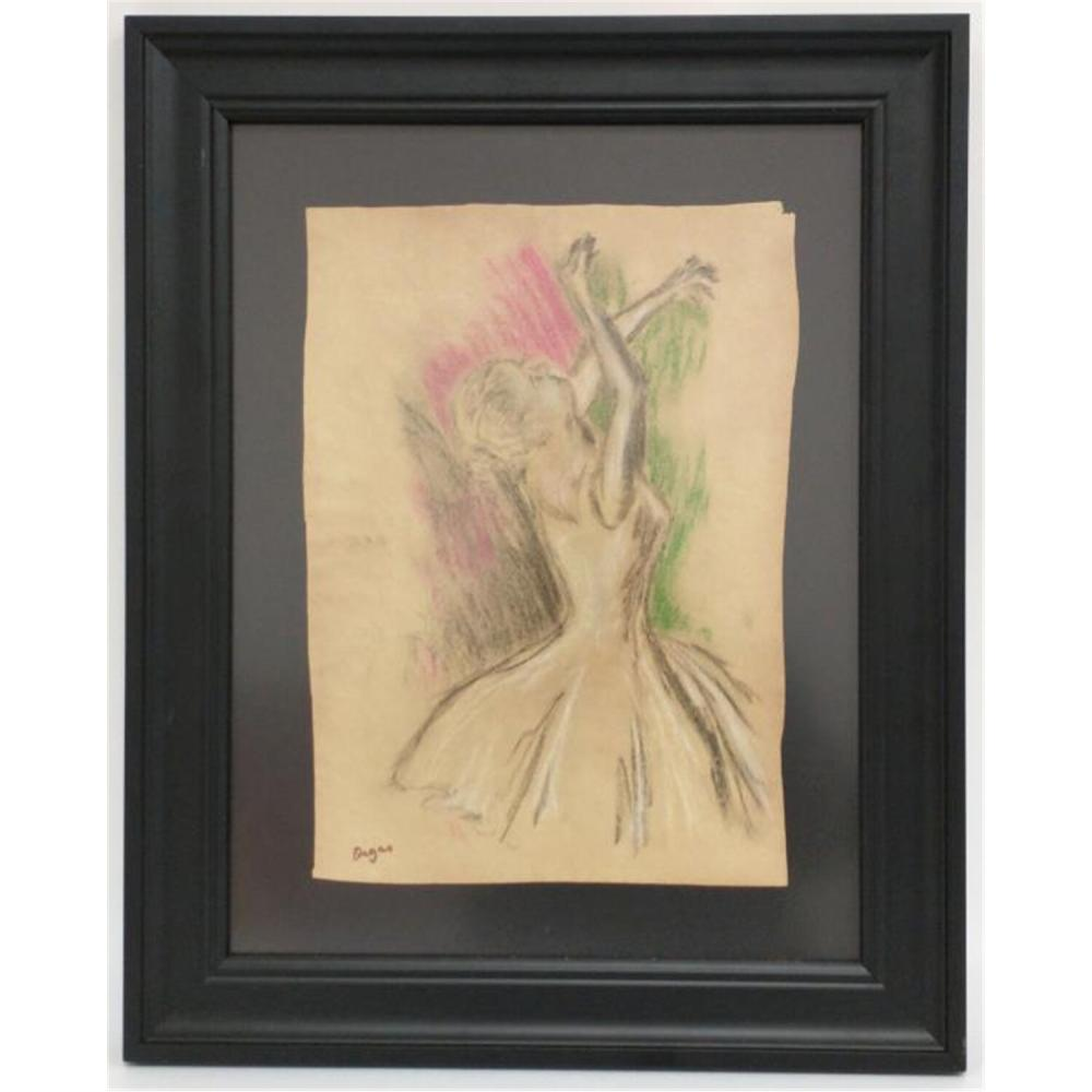 Pastel on Paper signed, in style of Degas