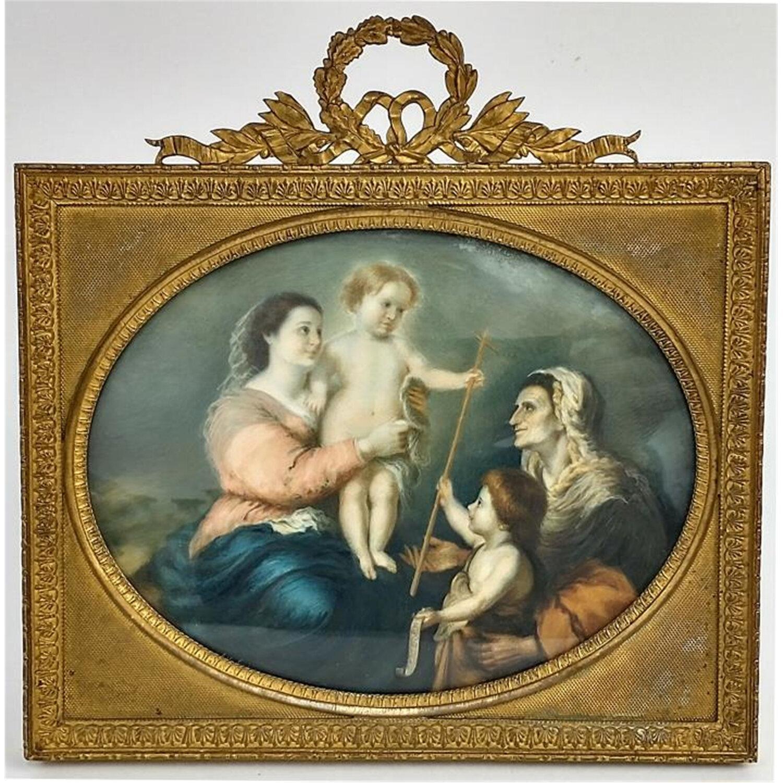 Miniature Antique Oval Painting Baby Jesus, C1860.