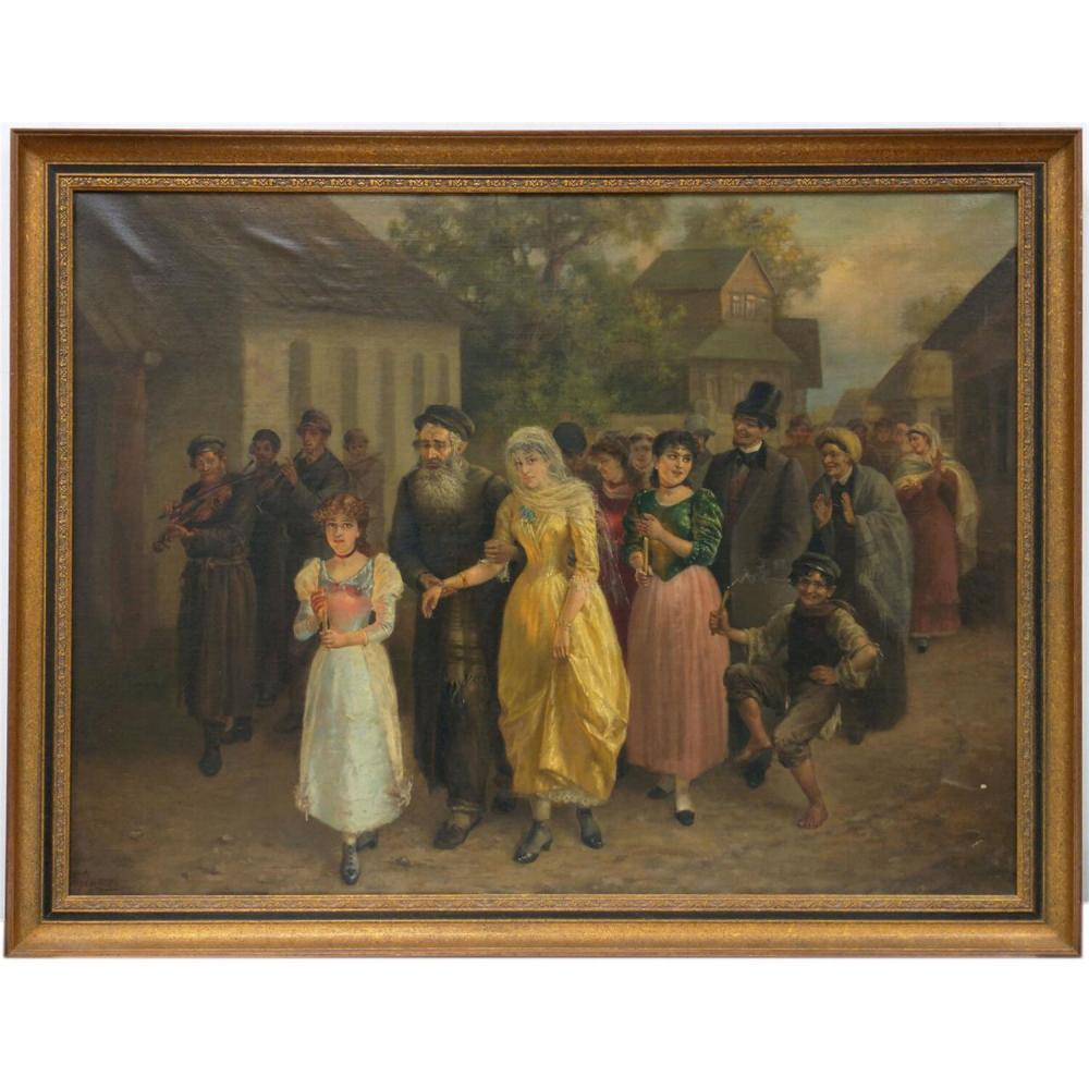 Judaica Russian Painting Oil on Canvas Alexey Trankowsky