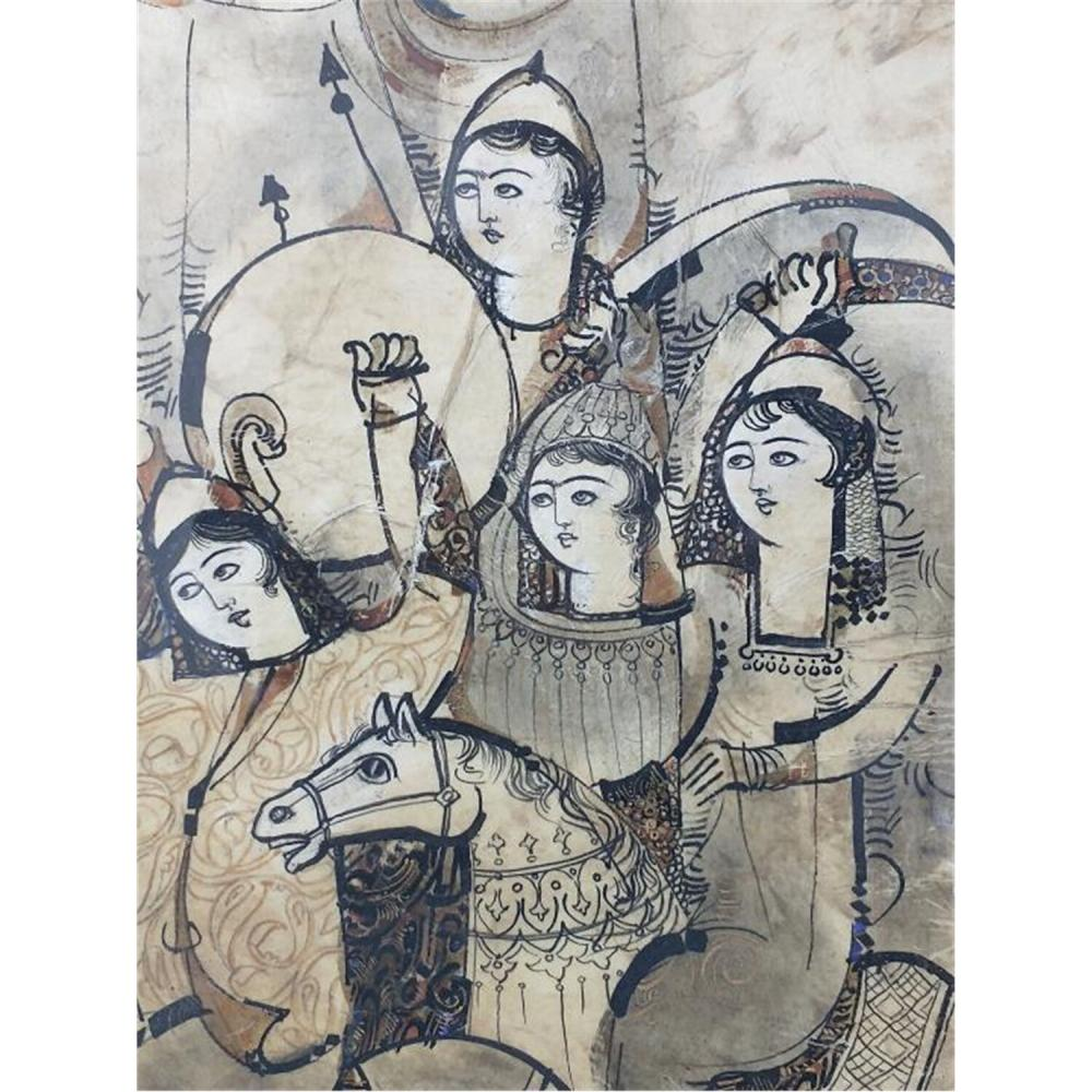 Exceptional Persian Pair of Paintings by Sadegh Tabrizi.