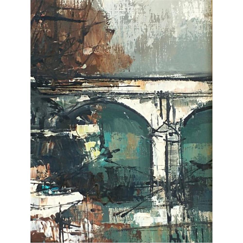 2 Vintage Paintings Oil on Canvas. Views of Paris