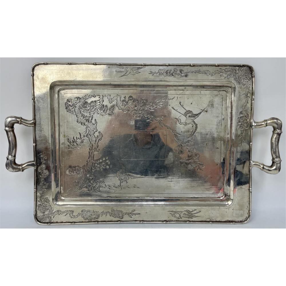 Antique Asian Style Silver Serving Tray