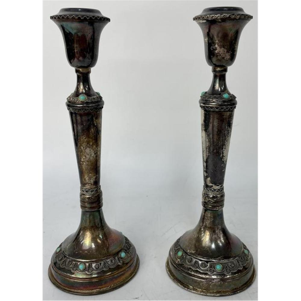 Pair Judaica Sterling Silver Shabbos Candles