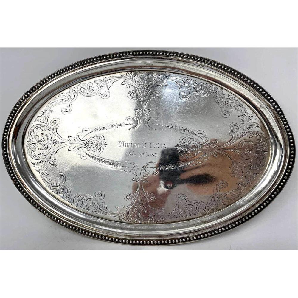 Antique Peter Krider (PLK) Coin Silver Footed Tray