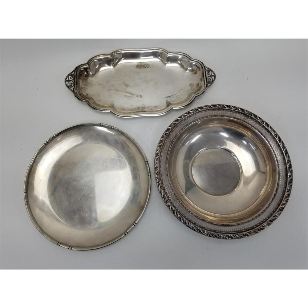 3 Vintage Sterling Silver Trays and Bowls