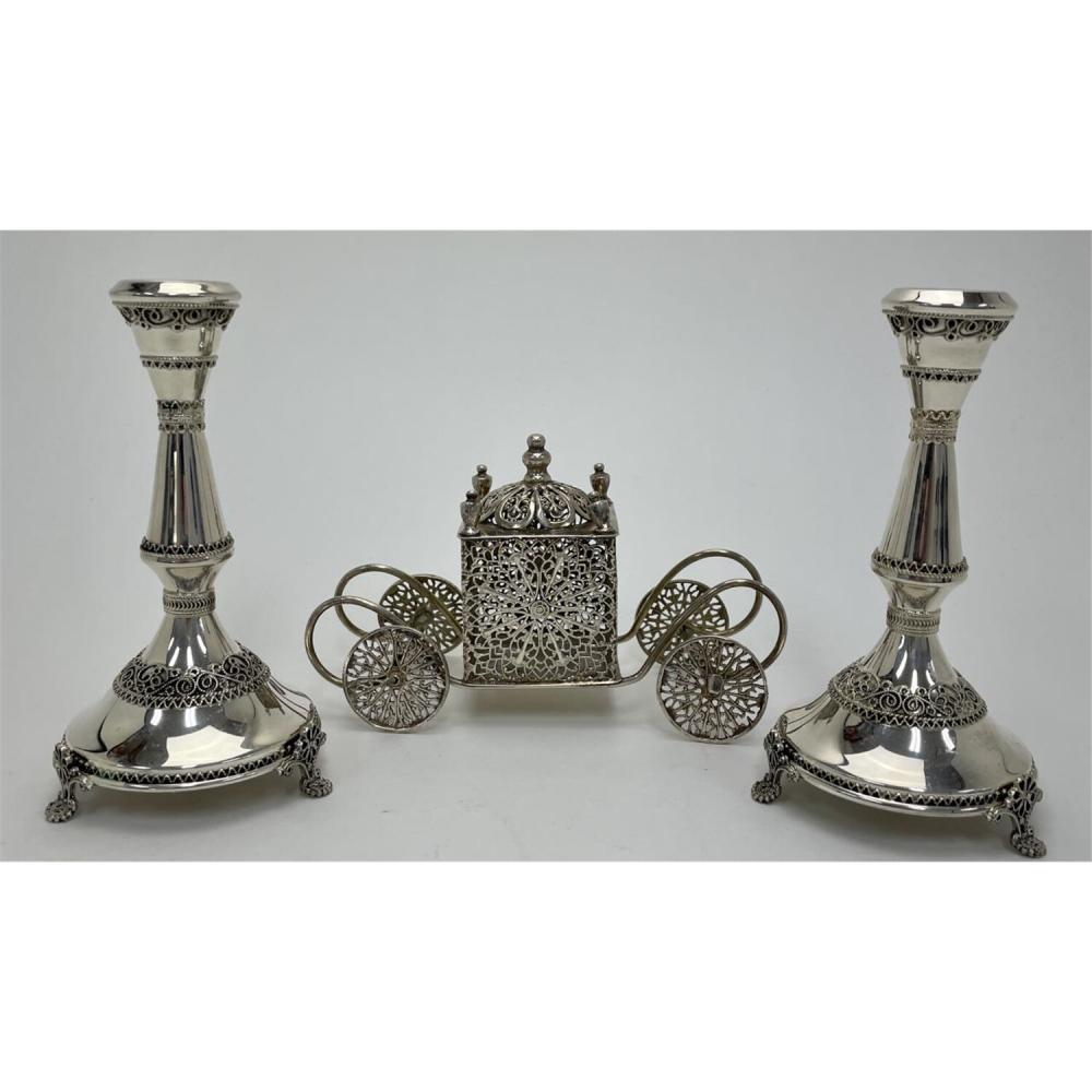 3 Piece Lot Judaica Sterling Silver Filigree Items