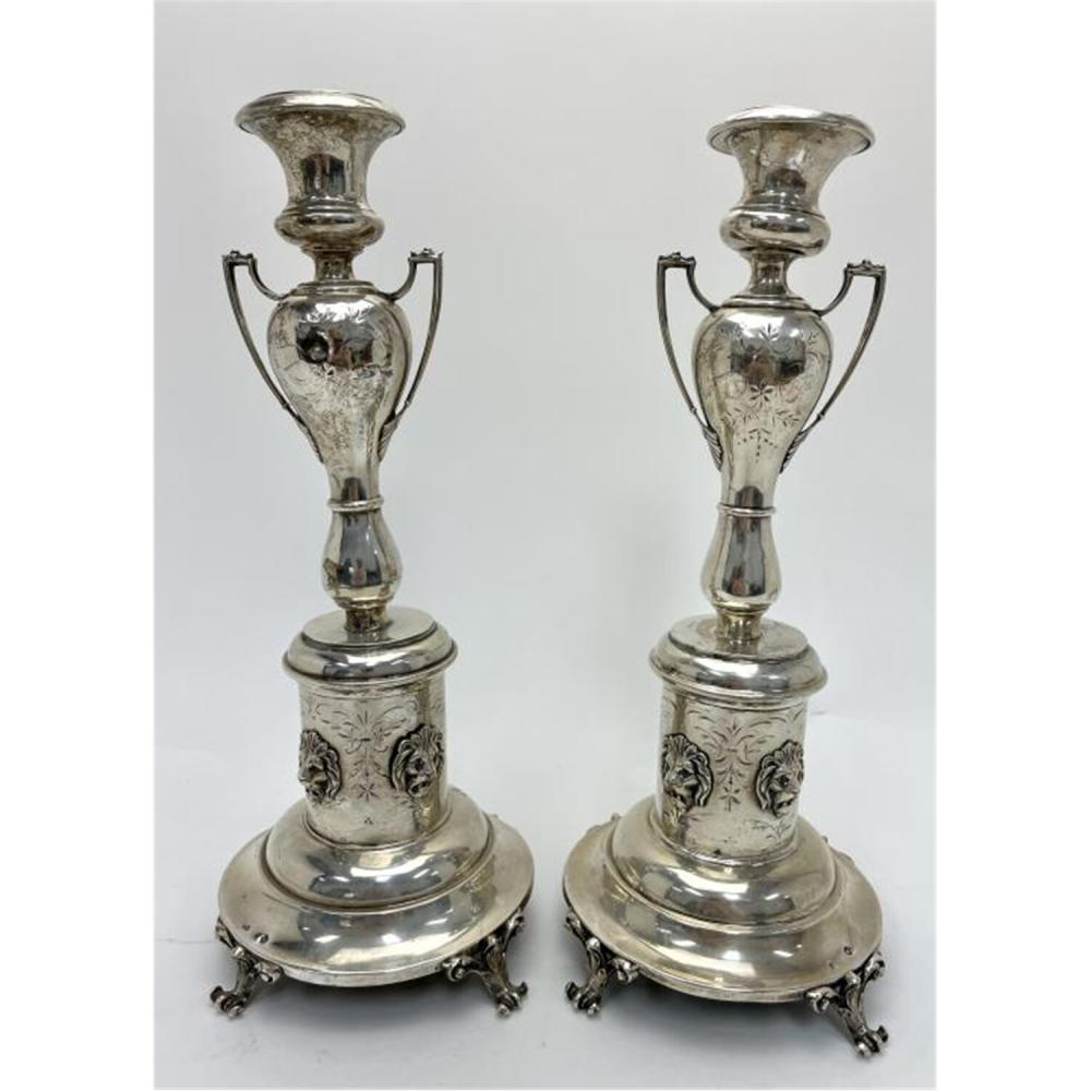 Antique Pair of Sterling Silver Candle Holders.