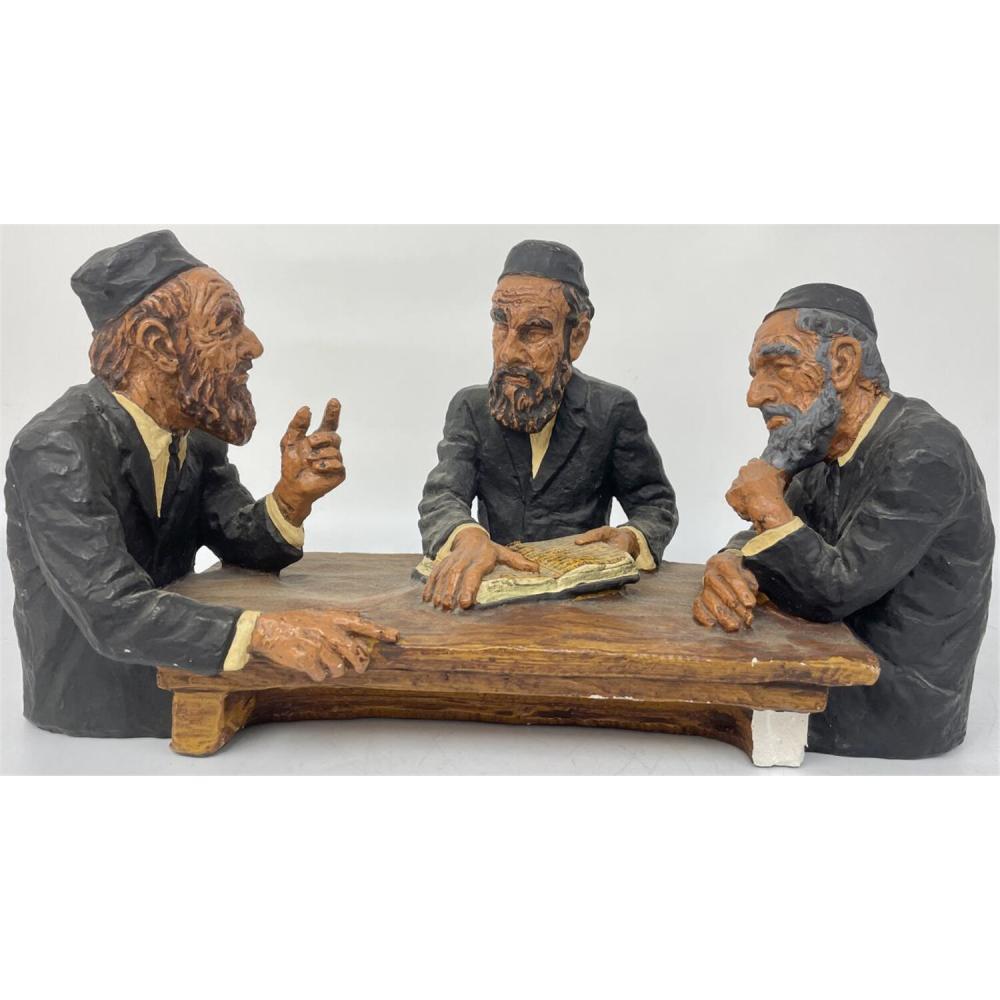 Signed Judaica Plaster Figure of 3 Rabbis