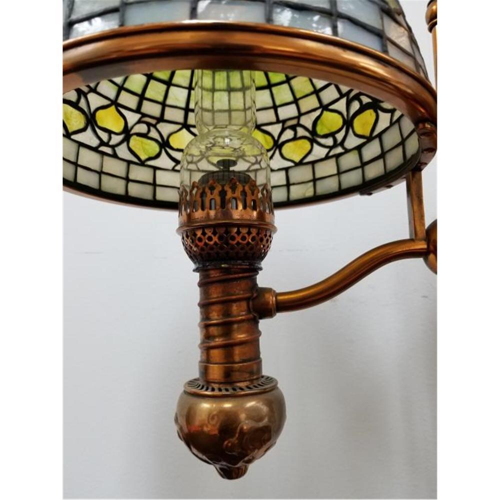 Tiffany Studios Unusual Acorn Bronze Oil Lamp