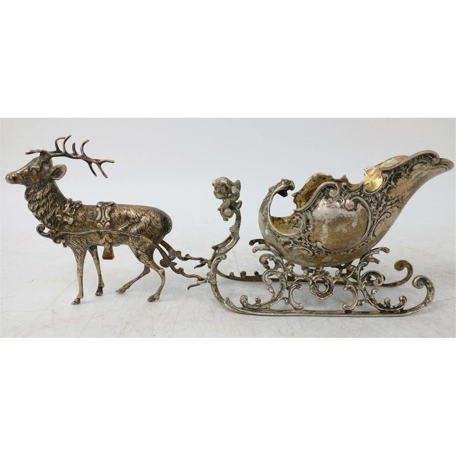 Early Continental Silver 2 Piece Set Deer & Sled