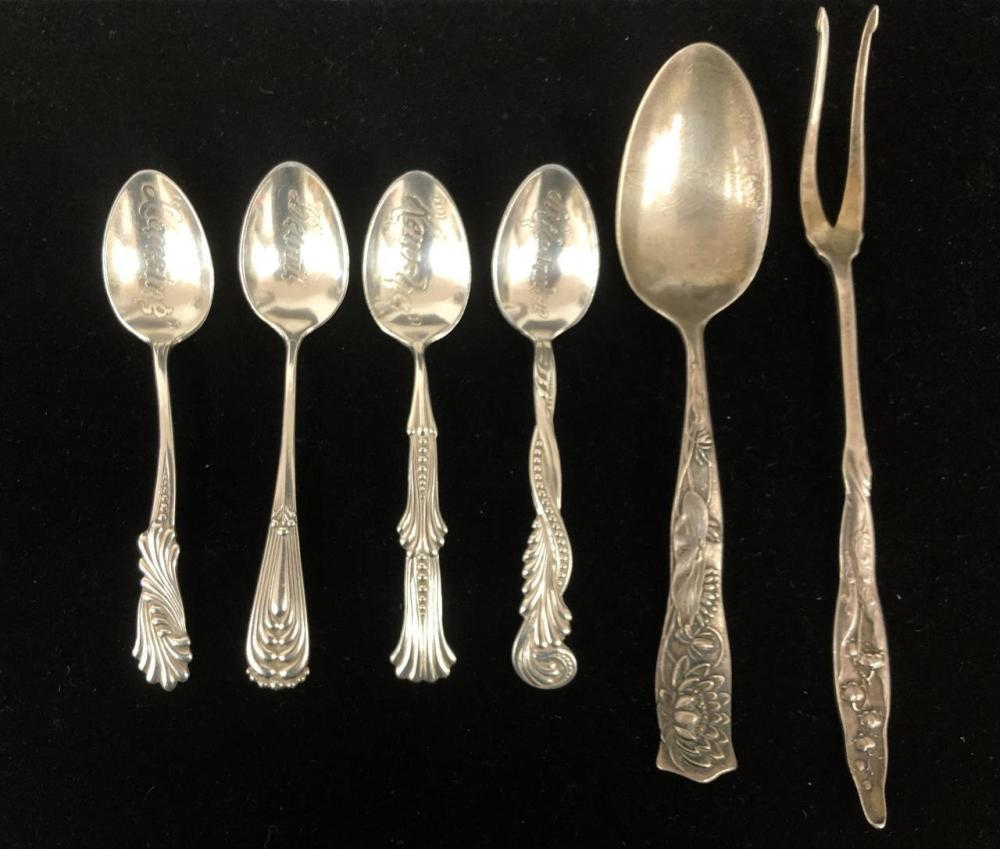 5 Pc Shiebler Sterling Silver Spoons & 1 Fork