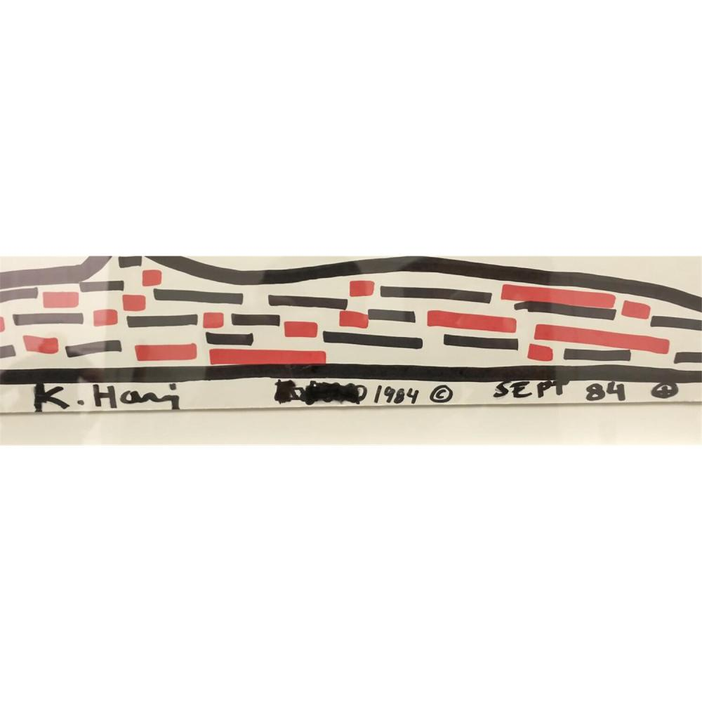 Painting Black & Red Marker, Signed & Attributed to Keith Haring.