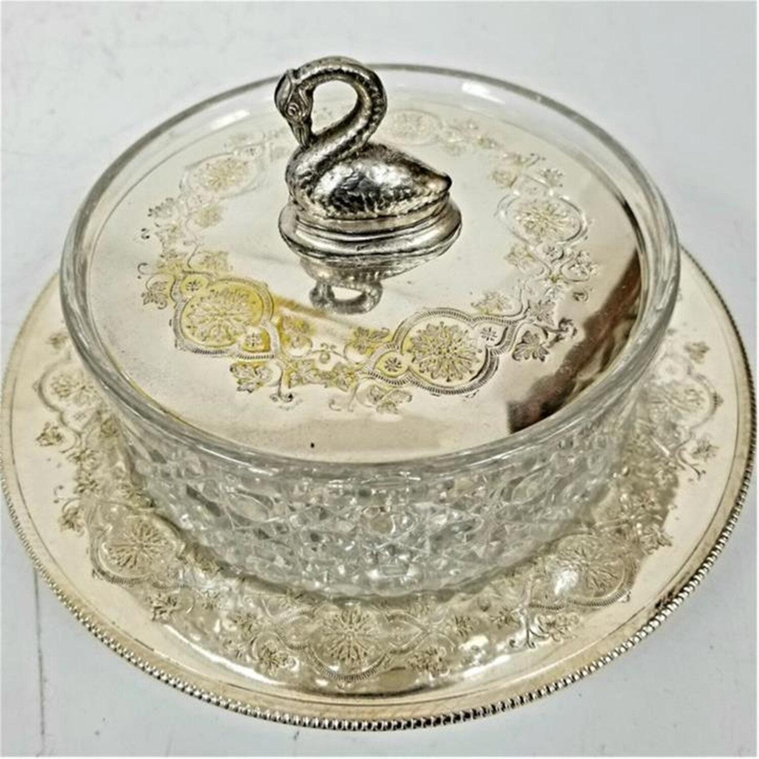Unusual Glass Silvered Metal Covered Candy Dish