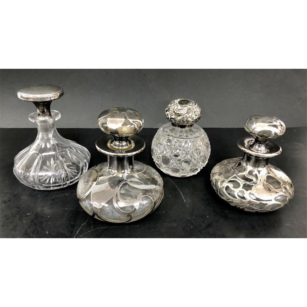 Lot of 4 Silver & Glass Perfume Bottles