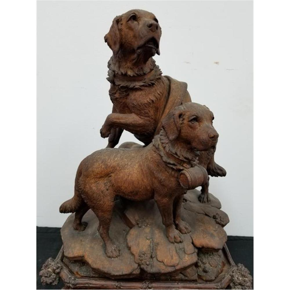Antique Black Forest Large Wood Carving of 2 Dogs.