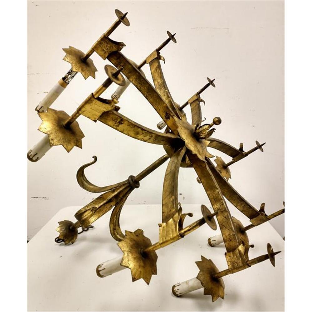 Art Deco Gilt Brass 8 Light Chandelier.