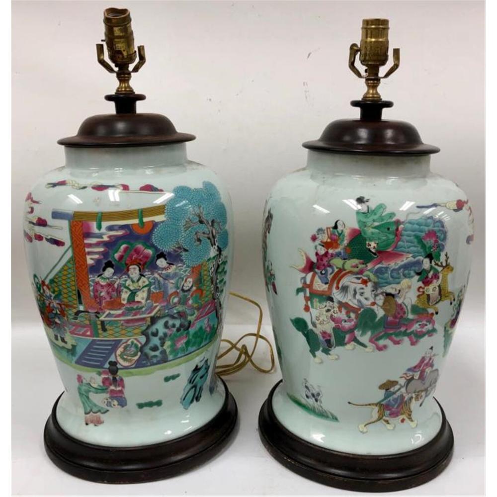 Pair Chinese Porcelain Vases Lamps Republic Period