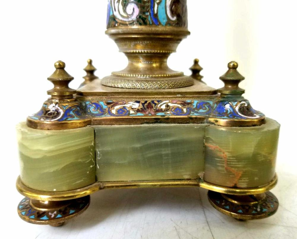 Pair Antique Bronze Champleve & Marble Candelabras