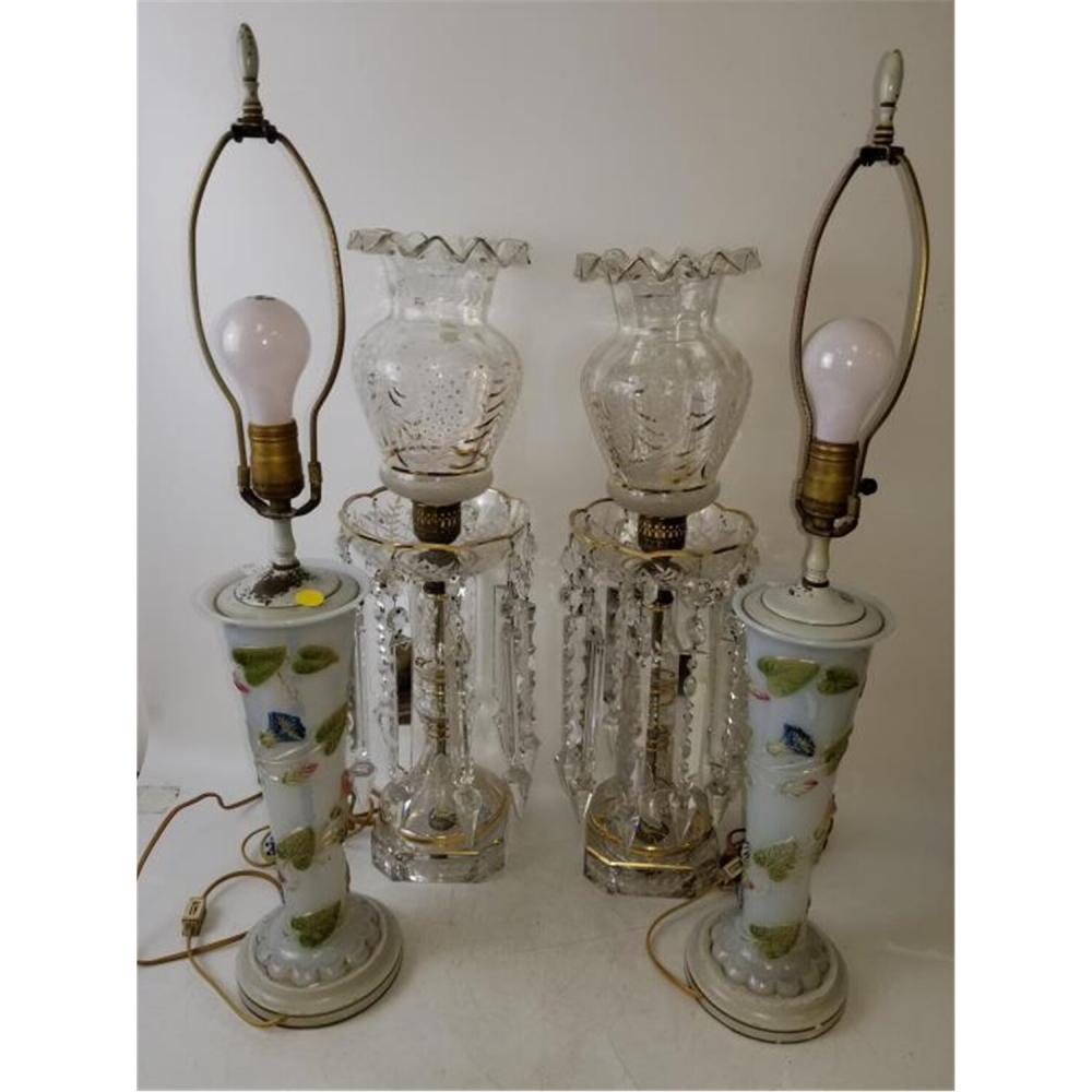 Group Lot of Antique Lamps Including Baccarat