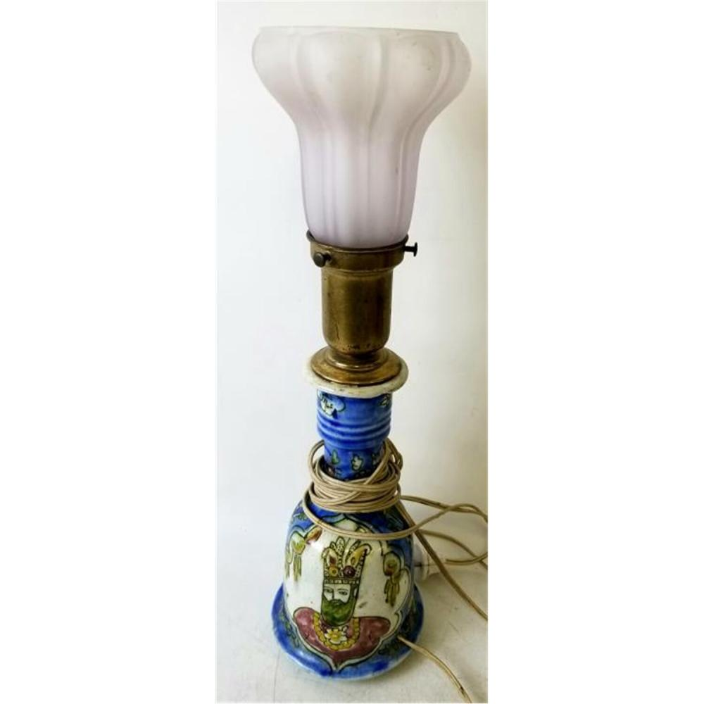 Signed Old Persian Ceramic Vase Made into a Lamp.