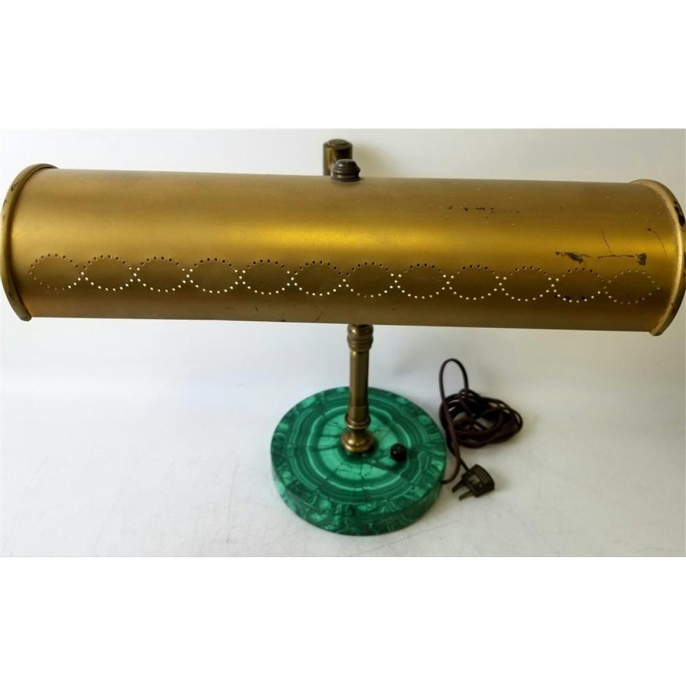 Vintage 1950's Desk Lamp w/ Malachite Veneer Base.