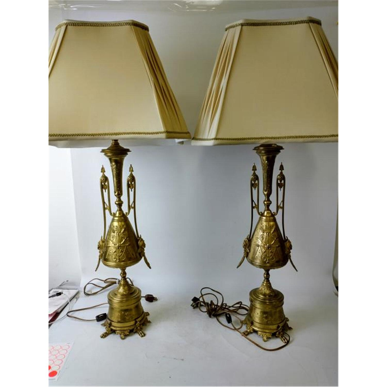 Pair of Antique Egyptian Revival Bronze Lamps