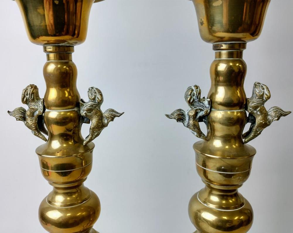 Pair of Brass Large Candle Sticks