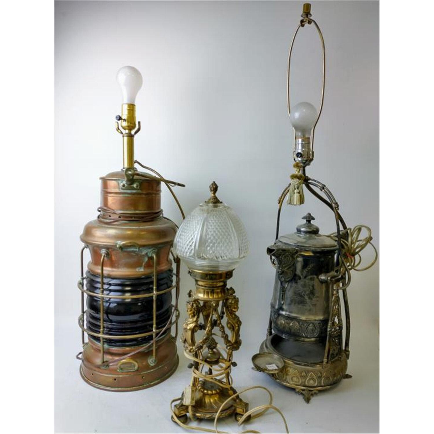 Lot of 3 Old Lamps