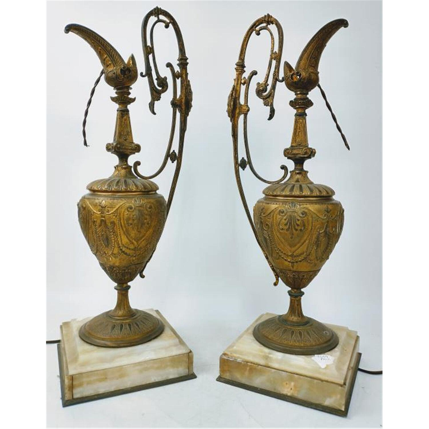 Large Pair of Bronze & Onyx Antique Ewers Lamps