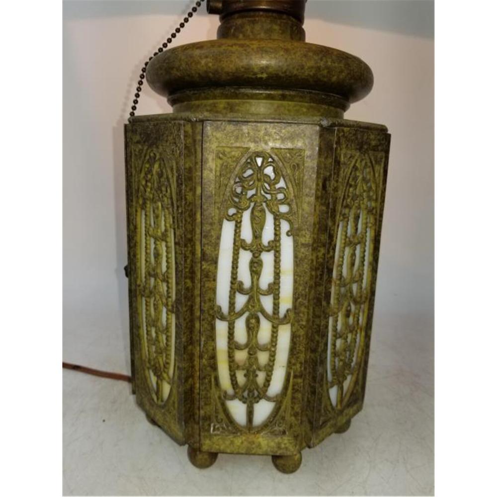 Unusual Bradley & Hubbard Slag Glass Lamp