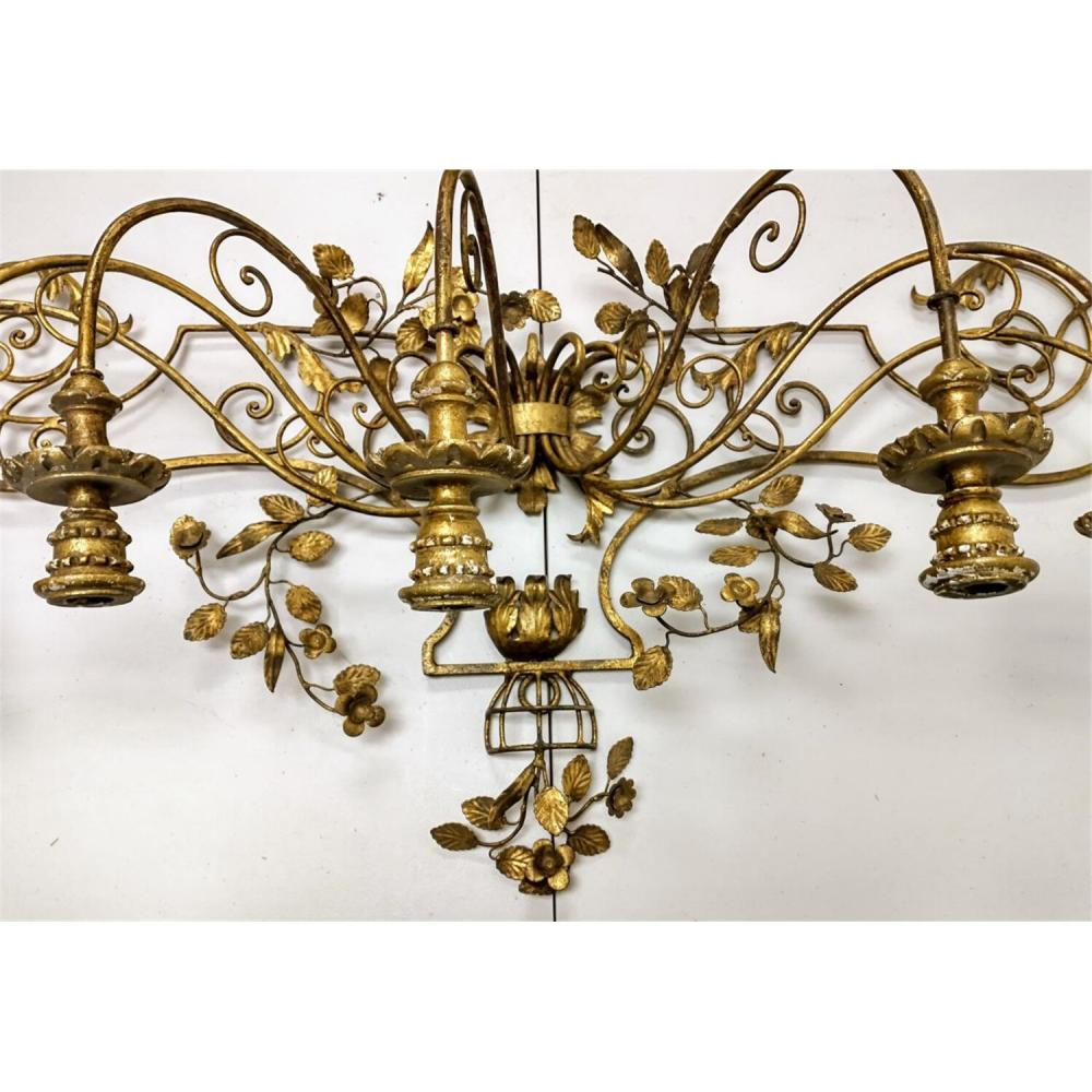 Very Large Highly Decorative Brass Wall Sconce