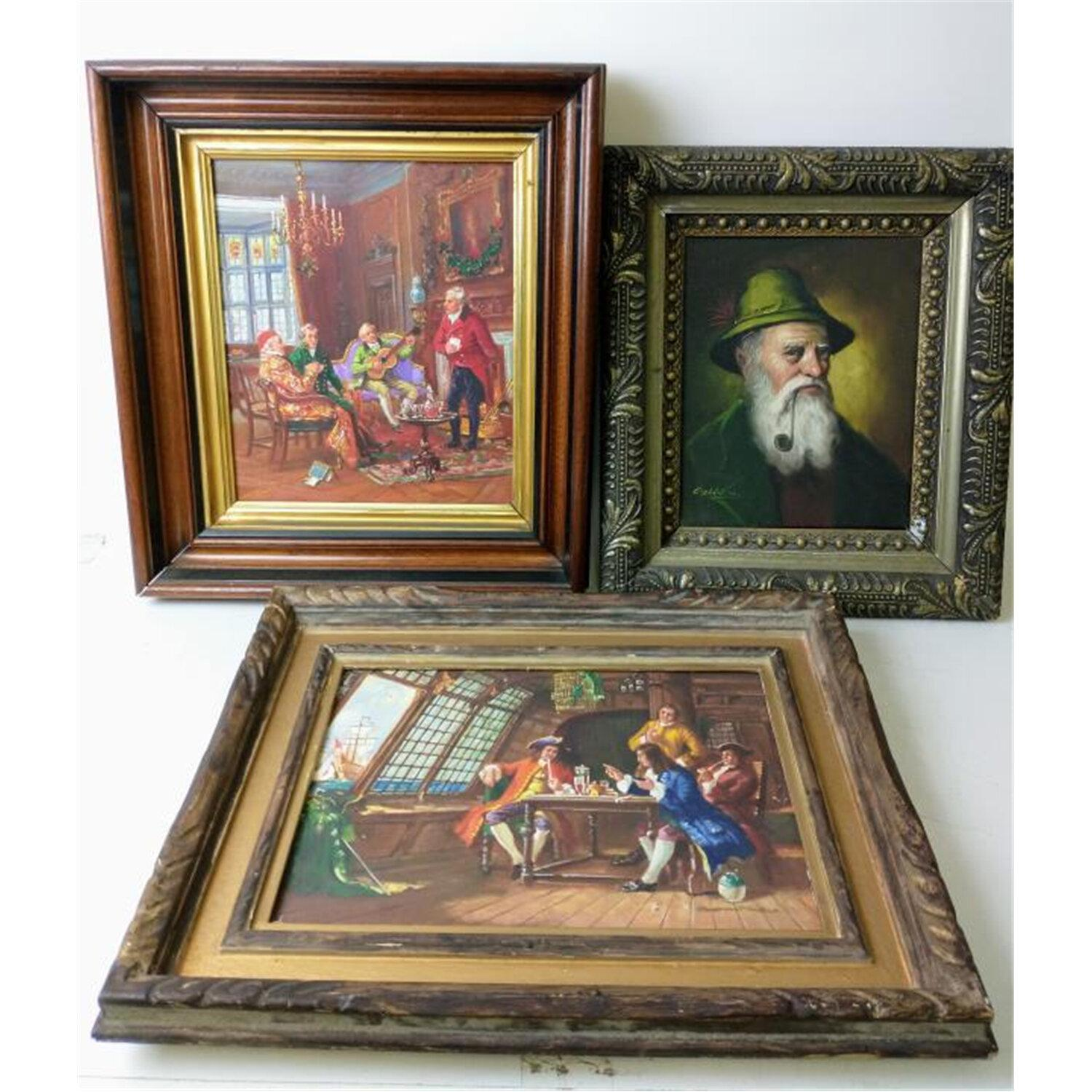 Lot of 3 Paintings Oil on Canvas
