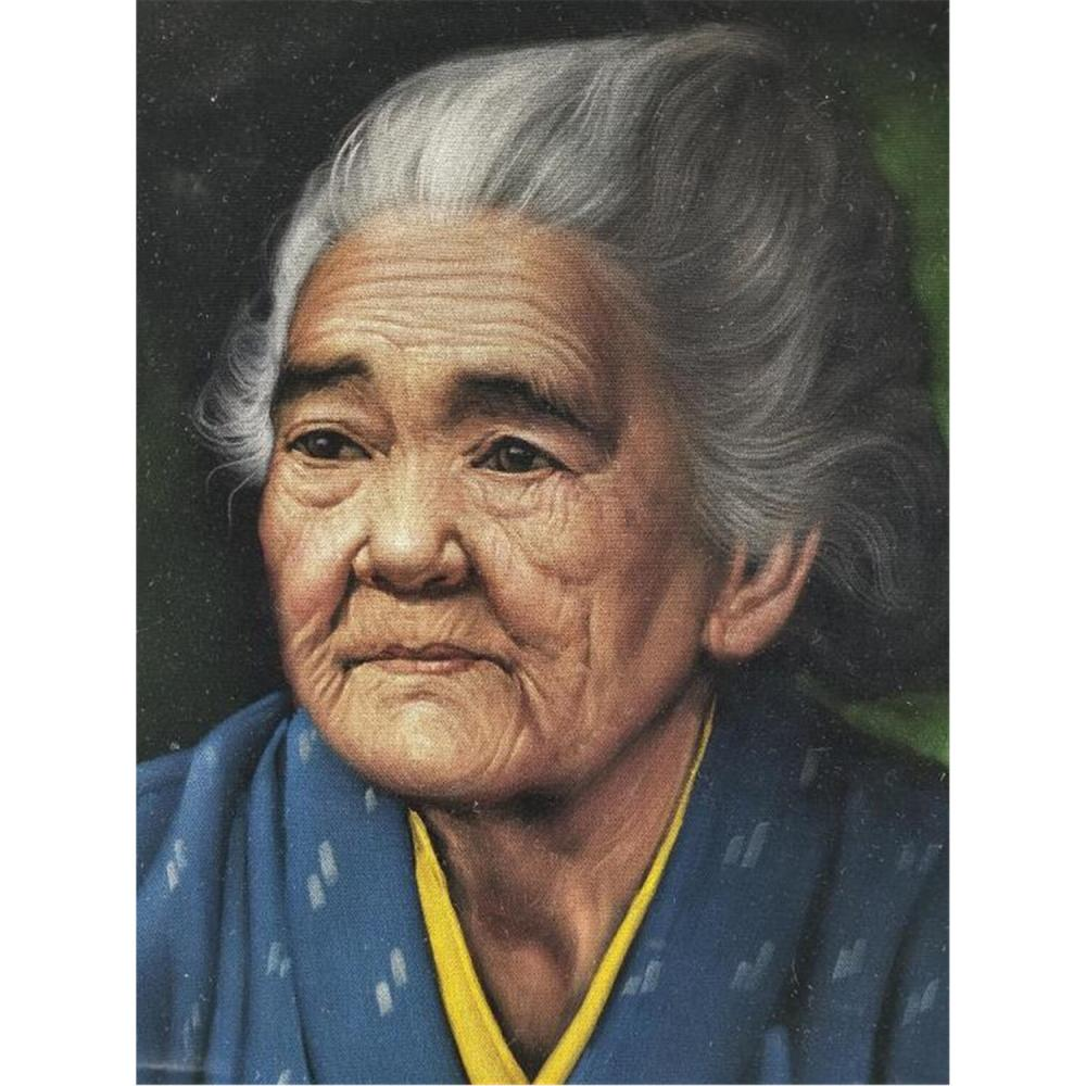 Painting Oil on Velvet by Chotai Yonaha, Japanese