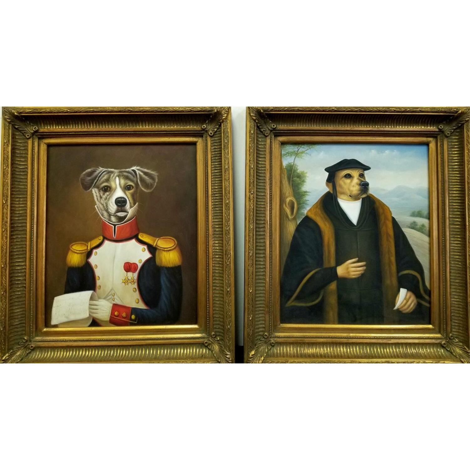2 Large Paintings Oil on Canvas Dogs